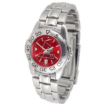 Louisville Cardinals Ladies AnoChrome  Steel Band Sports Watch