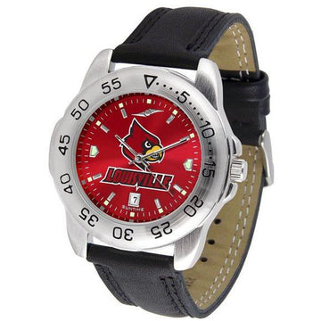 Louisville Cardinals Mens AnoChrome Leather Band Sports Watch