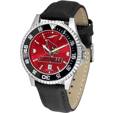 Louisville Cardinals Mens Competitor Ano Poly/Leather Band Watch w/ Colored Bezel