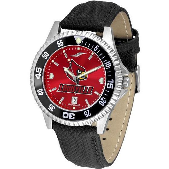 Louisville Cardinals Mens Competitor Ano Poly/Leather Band Watch w/ Colored Bezel-Watch-Suntime-Top Notch Gift Shop