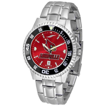 Louisville Cardinals Mens Competitor AnoChrome Steel Band Watch w/ Colored Bezel