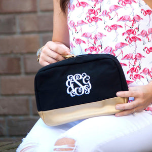 Black Cabana Cosmetic Bag - Personalized-Bag-Viv&Lou-Top Notch Gift Shop