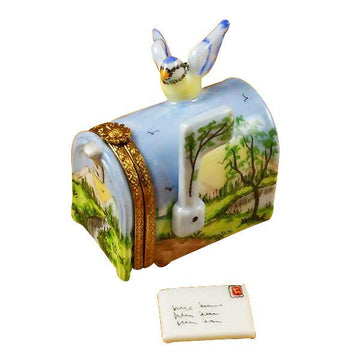 Mailbox With Landscape And Removable Letter Limoges Box by Rochard™