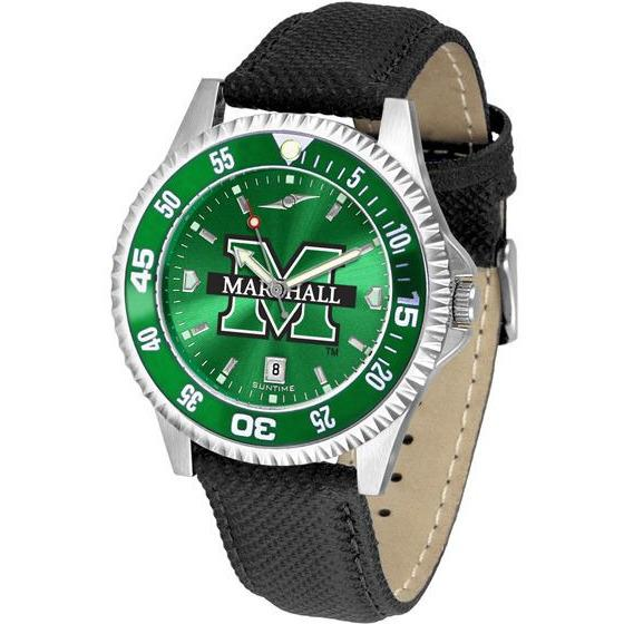 Marshall Thundering Herd Mens Competitor Ano Poly/Leather Band Watch w/ Colored Bezel-Watch-Suntime-Top Notch Gift Shop