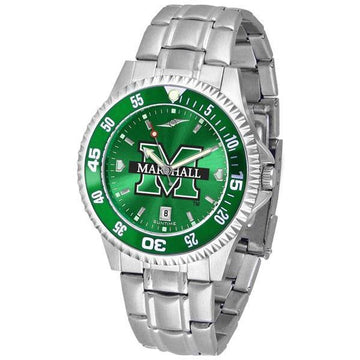 Marshall Thundering Herd Mens Competitor AnoChrome Steel Band Watch w/ Colored Bezel
