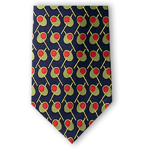 Martini Olives Silk Necktie-Necktie-Josh Bach Limited-Top Notch Gift Shop