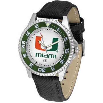 Miami Hurricanes Competitor - Poly/Leather Band Watch