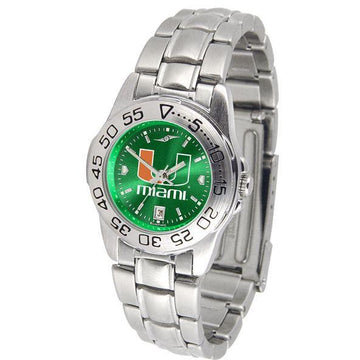 Miami Hurricanes Ladies AnoChrome  Steel Band Sports Watch