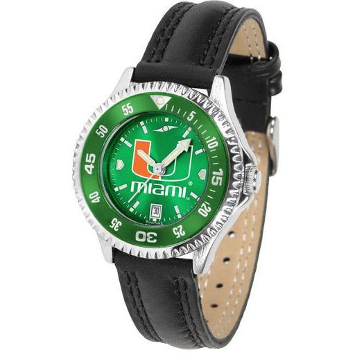 Miami Hurricanes Ladies Competitor Ano Poly/Leather Band Watch w/ Colored Bezel-Watch-Suntime-Top Notch Gift Shop