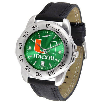 Miami Hurricanes Mens AnoChrome Leather Band Sports Watch