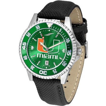 Miami Hurricanes Mens Competitor Ano Poly/Leather Band Watch w/ Colored Bezel