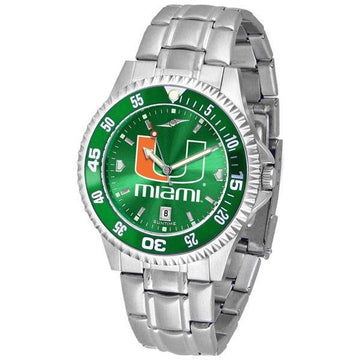 Miami Hurricanes Mens Competitor AnoChrome Steel Band Watch w/ Colored Bezel