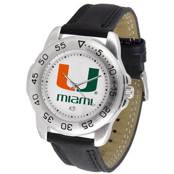 Miami Hurricanes Mens Leather Band Sports Watch