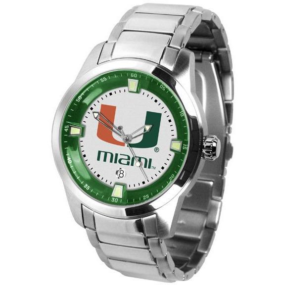Miami Hurricanes Men's Titan Stainless Steel Band Watch-Watch-Suntime-Top Notch Gift Shop