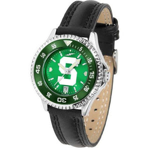 Michigan State Spartans Ladies Competitor Ano Poly/Leather Band Watch w/ Colored Bezel-Watch-Suntime-Top Notch Gift Shop