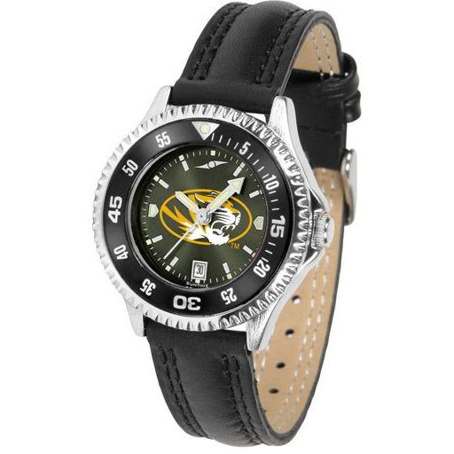Missouri Tigers Ladies Competitor Ano Poly/Leather Band Watch w/ Colored Bezel-Watch-Suntime-Top Notch Gift Shop
