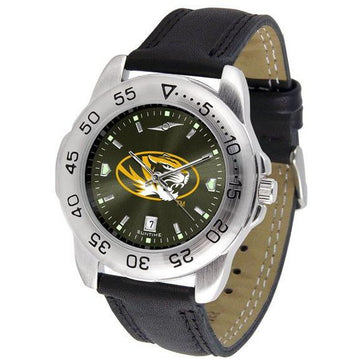 Missouri Tigers Mens AnoChrome Leather Band Sports Watch