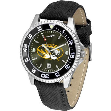 Missouri Tigers Mens Competitor Ano Poly/Leather Band Watch w/ Colored Bezel