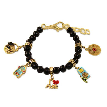 Music Lover Charm Bracelet in Gold