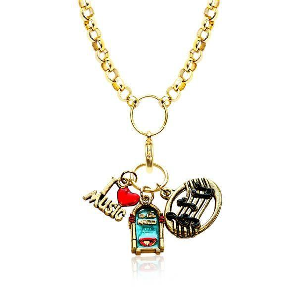 Music Lover Charm Necklace in Gold-Necklace-Whimsical Gifts-Top Notch Gift Shop
