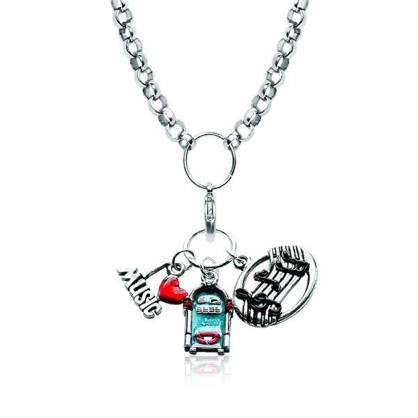 Music Lover Charm Necklace in Silver-Necklace-Whimsical Gifts-Top Notch Gift Shop