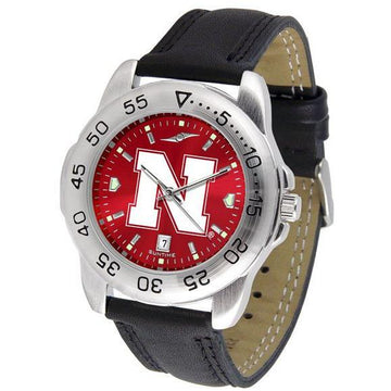 Nebraska Cornhuskers Mens AnoChrome Leather Band Sports Watch