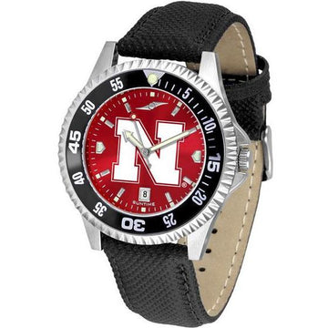 Nebraska Cornhuskers Mens Competitor Ano Poly/Leather Band Watch w/ Colored Bezel