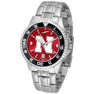 Nebraska Cornhuskers Mens Competitor AnoChrome Steel Band Watch w/ Colored Bezel-Watch-Suntime-Top Notch Gift Shop