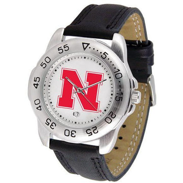 Nebraska Cornhuskers Mens Leather Band Sports Watch