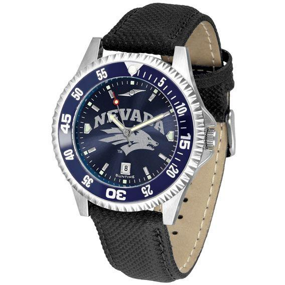 Nevada Wolfpack Mens Competitor Ano Poly/Leather Band Watch w/ Colored Bezel-Watch-Suntime-Top Notch Gift Shop