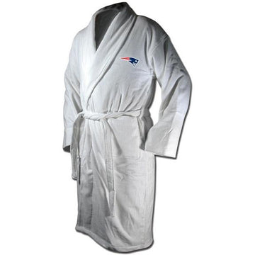 New England Patriots White Terrycloth Bathrobe