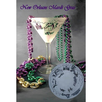 New Orleans Mardi Gras Martini  Glass (Set of 2)