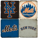New York Mets Italian Marble Coasters with Wrought Iron Holder (set of 4)-Coasters-Studio Vertu-Top Notch Gift Shop