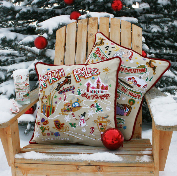 North Pole Embroidered Catstudio Pillow-Pillow-CatStudio-Top Notch Gift Shop