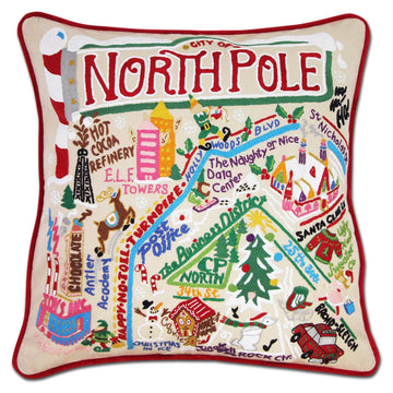 North Pole City Embroidered Catstudio Pillow