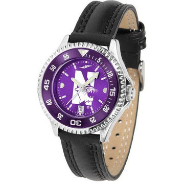 Northwestern Wildcats Ladies Competitor Ano Poly/Leather Band Watch w/ Colored Bezel