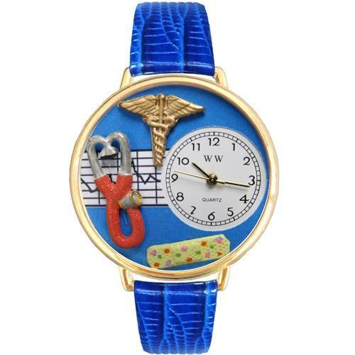 Nurse 2 Blue Watch in Gold (Large)-Watch-Whimsical Gifts-Top Notch Gift Shop