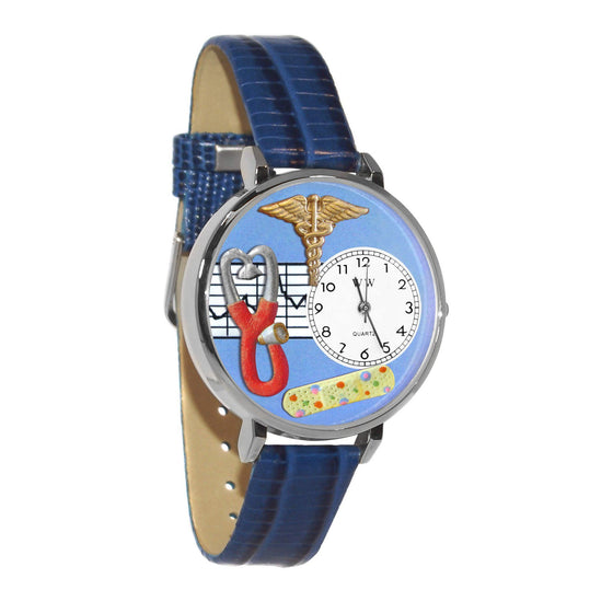 Nurse 2 Blue Watch in Silver (Large)-Whimsical GiftsTop Notch Gift Shop