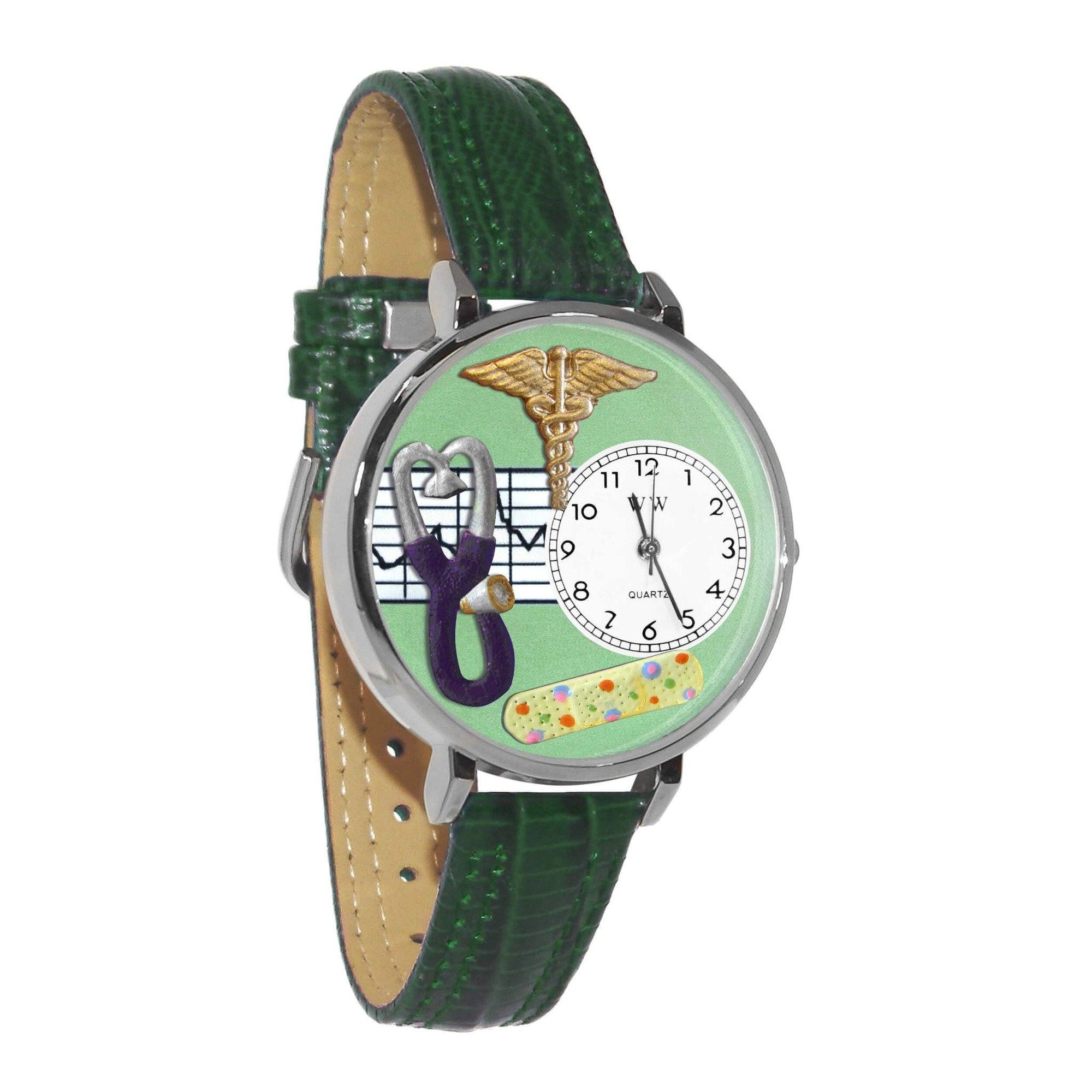 Nurse 2 Green Watch in Silver (Large)-Watch-Whimsical Gifts-Top Notch Gift Shop