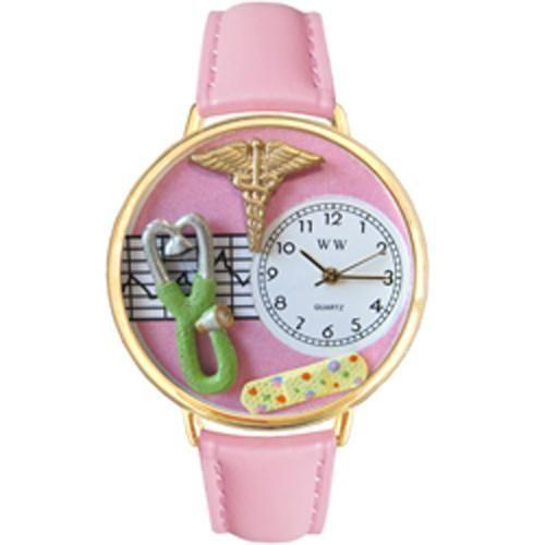Nurse 2 Pink Watch in Gold (Large)-Watch-Whimsical Gifts-Top Notch Gift Shop
