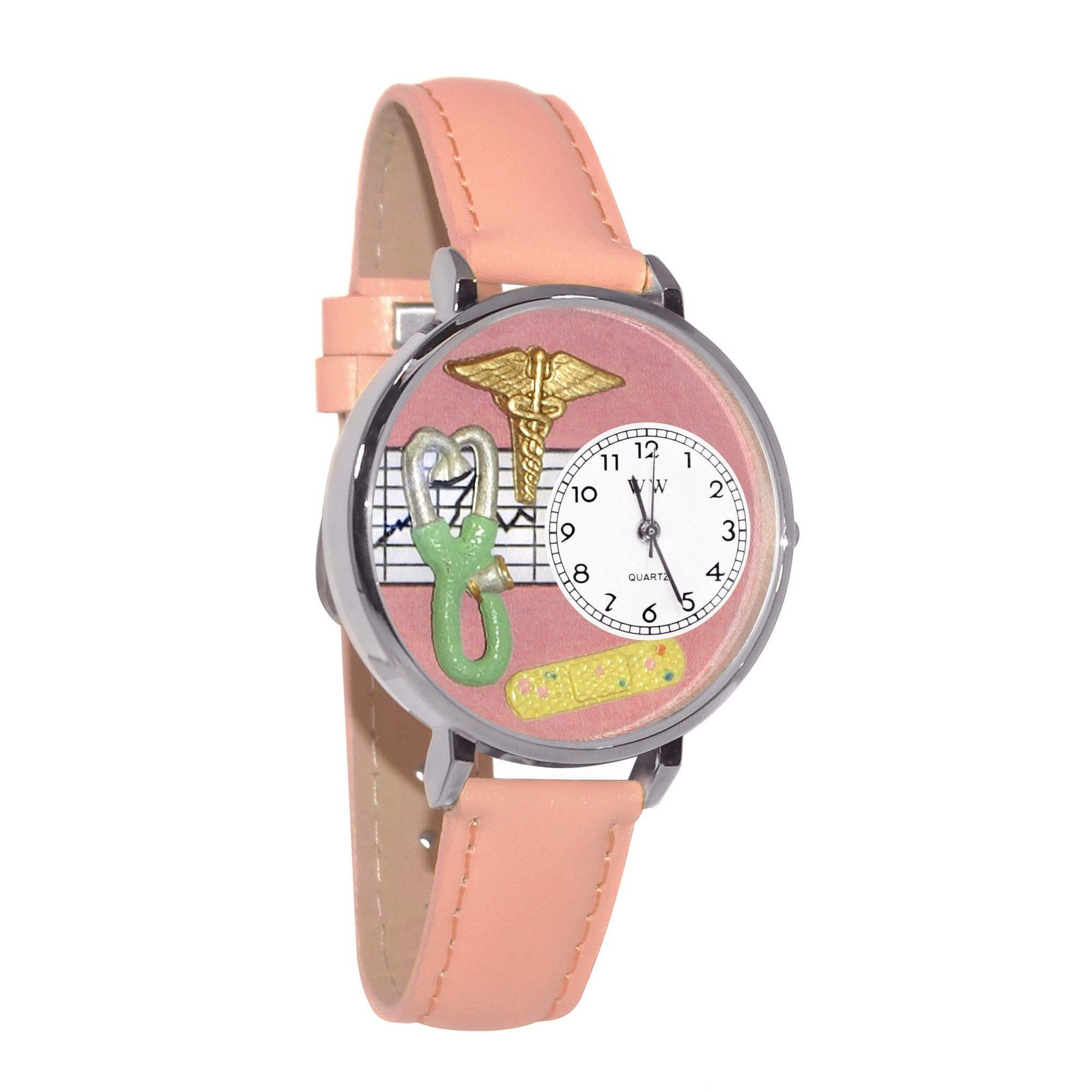 Nurse 2 Pink Watch in Silver (Large)-Watch-Whimsical Gifts-Top Notch Gift Shop