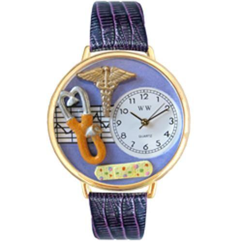 Nurse 2 Purple Watch in Gold (Large)-Watch-Whimsical Gifts-Top Notch Gift Shop