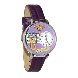 Nurse 2 Purple Watch in Silver (Large)-Watch-Whimsical Gifts-Top Notch Gift Shop
