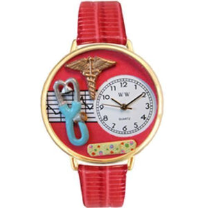 Nurse 2 Red Watch in Gold (Large)-Watch-Whimsical Gifts-Top Notch Gift Shop