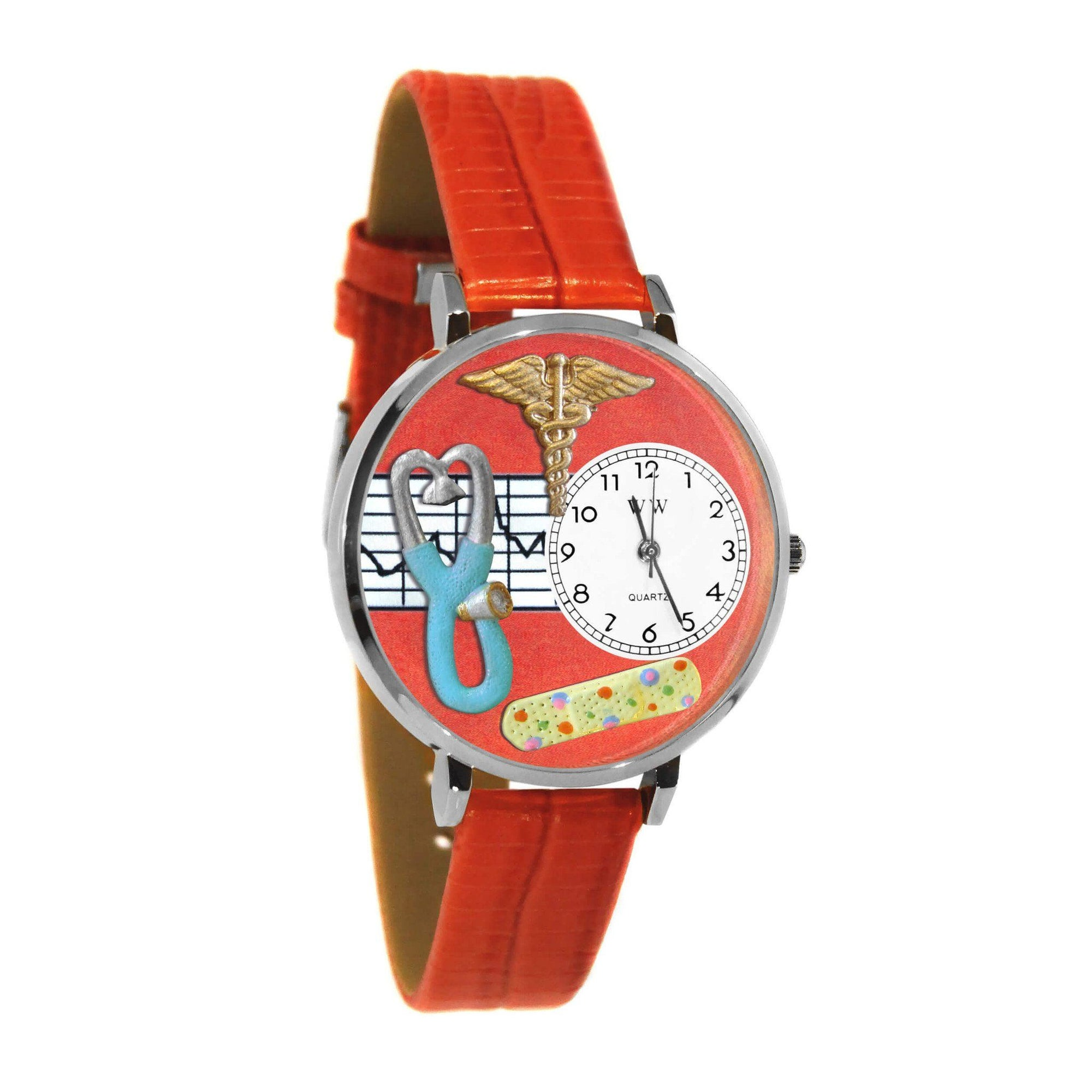 Nurse 2 Red Watch in Silver (Large)-Watch-Whimsical Gifts-Top Notch Gift Shop