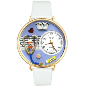 Nurse Blue Watch in Gold (Large)-Watch-Whimsical Gifts-Top Notch Gift Shop