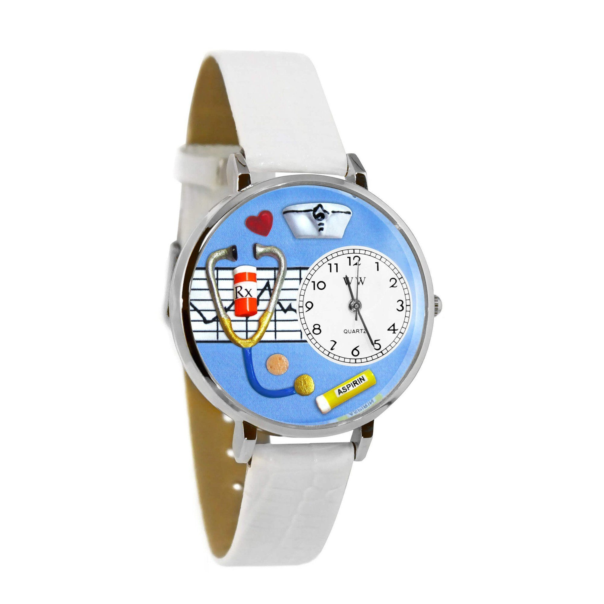 Nurse Blue Watch in Silver (Large)-Watch-Whimsical Gifts-Top Notch Gift Shop