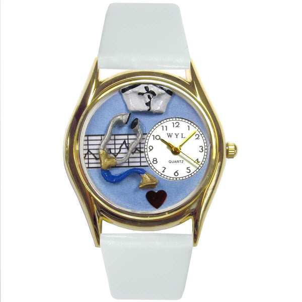Nurse Blue Watch Small Gold Style-Watch-Whimsical Gifts-Top Notch Gift Shop