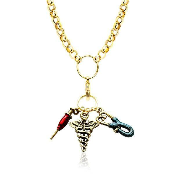 Nurse Charm Necklace in Gold-Whimsical GiftsTop Notch Gift Shop