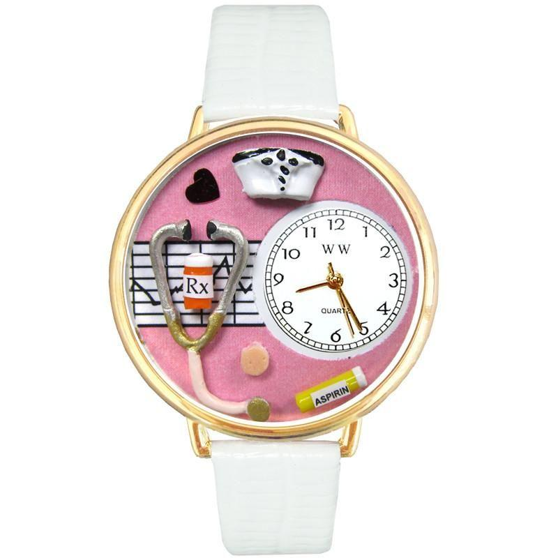 Nurse Pink Watch in Gold (Large)-Watch-Whimsical Gifts-Top Notch Gift Shop